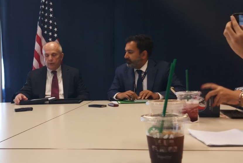 Dubes AS untuk RI, Joseph Donovan saat konferensi pers di Kantor Kedubes AS, Jakarta Jumat (10/8).