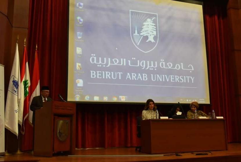 Duta Besar RI untuk Lebanon Achmad Chozin Chumaidy saat pembukaan seminar bertajuk perempuan dan politik di Beirut Arab University (BAU), pada Kamis (13/9).