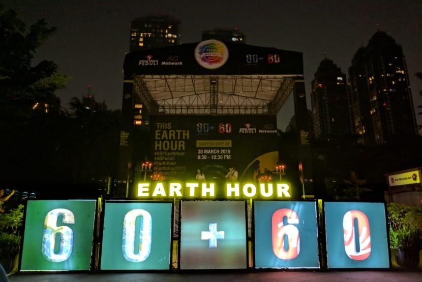 Earth Hour di SCBD, Sabtu (30/3) malam WIB.