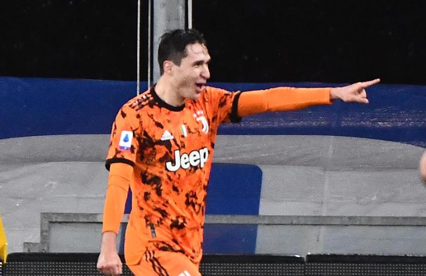 Ekspresi Frederico Chiesa usai mencetak gol ke gawang Sampdoria.