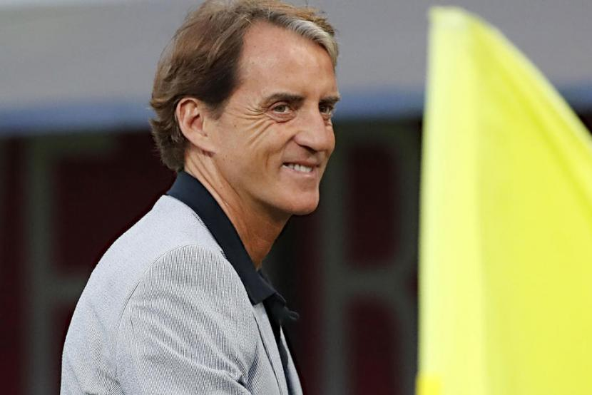 Pelatih timnas Italia Roberto Mancini.