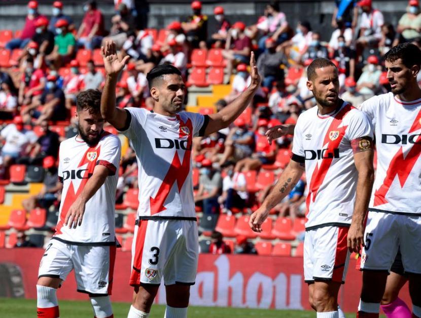 Ekspresi penyerang Rayo Vallecano, Radamel Falco usai mencetak gol ke gawang Getafe.