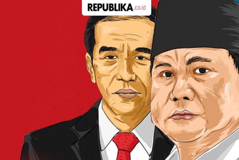 Presidential candidate number 01 Joko Widodo (left) and presidential candidate number 02 Prabowo Subianto (right)
