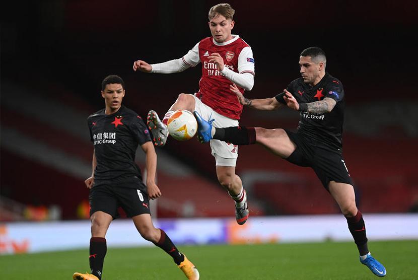 laga Arsenal vs Slavia Praha di London, Jumat (9/4) dini hari WIB