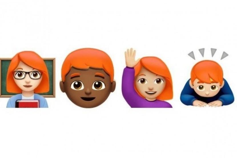 Emoji si rambut merah. Ilustrasi