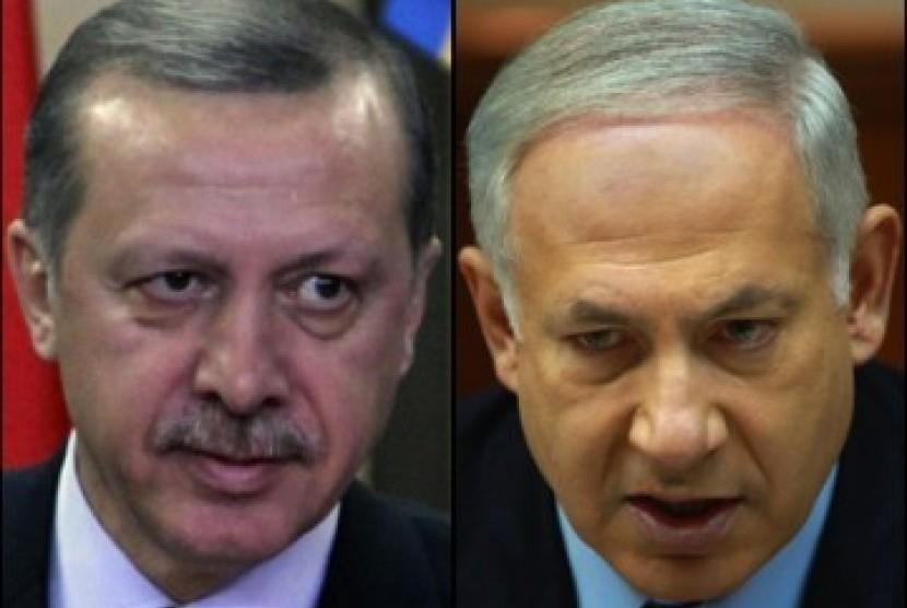 Erdogan (kiri) dan Netanyahu (kanan)