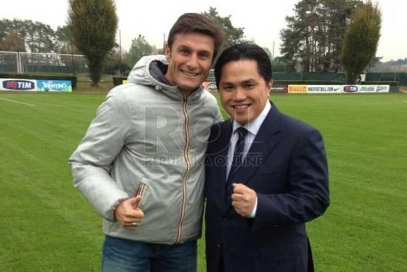 Erick Thohir bersama Javier Zanetti.