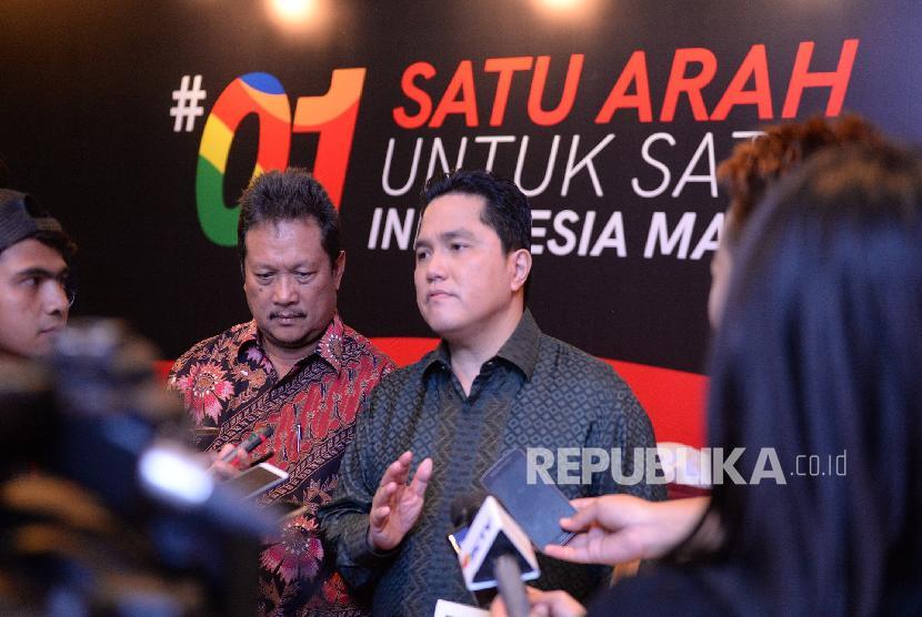 National Campaign Team (TKN) Chairman of Joko Widodo (Jokowi)-Ma'ruf Amin, Erick Thohir (center).