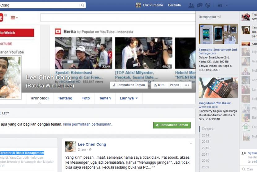 Facebook milik Rateka Winner Lee.