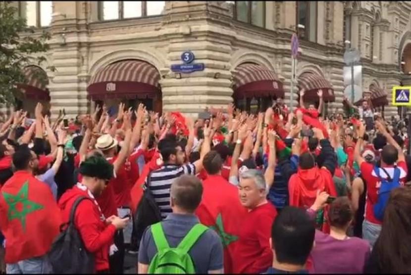 Fan Maroko berkumpul di Red Square mendukung negaranya tampil di Piala Dunia 2018