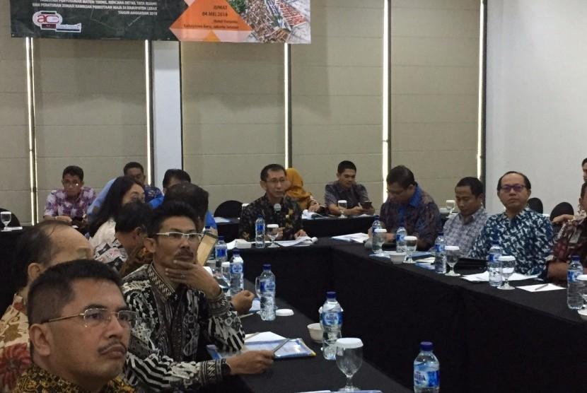 Focus Group Discussion (FGD) Koordinasi Strategis dan Konsolidasi Perencanaan Pembangunan dalam Rangka Perencanaan Tata Ruang Kota Baru Maja di Jakarta, Jumat (4/5).