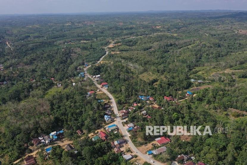 Foto aerial kawasan ibu kota negara baru di Kecamatan Sepaku, Penajam Paser Utara, Kalimantan Timur.