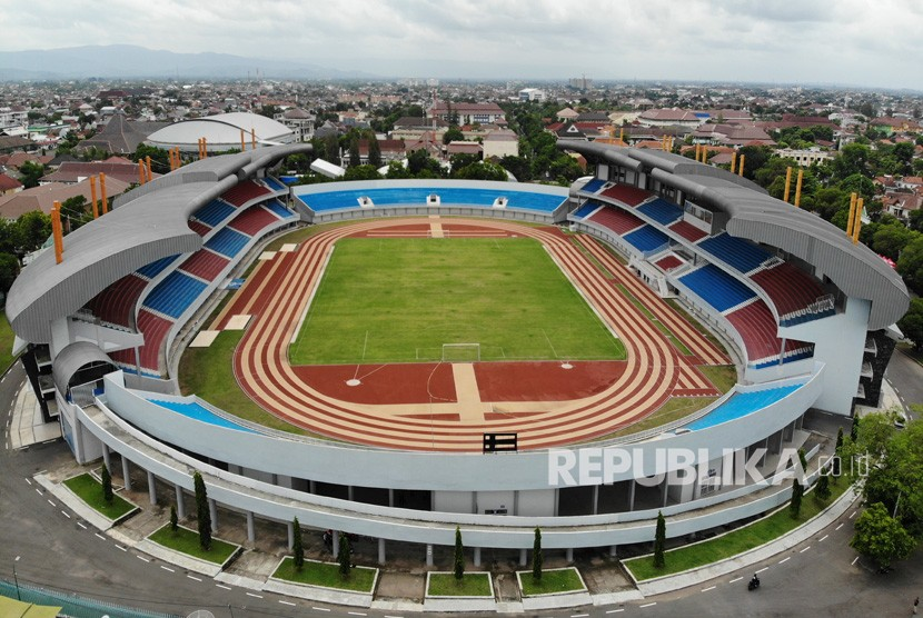 Foto aerial Stadion Mandala Krida di Baciro, DI Yogyakarta, Kamis (30/1/2020).