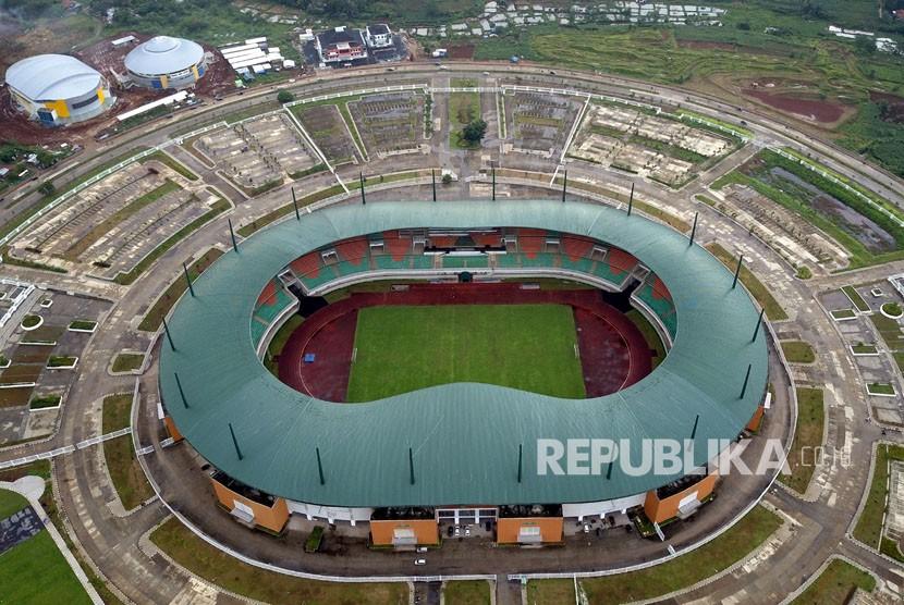 Foto aerrial Stadion Pakansari di Bogor, Jawa Barat, Selasa (20/2).