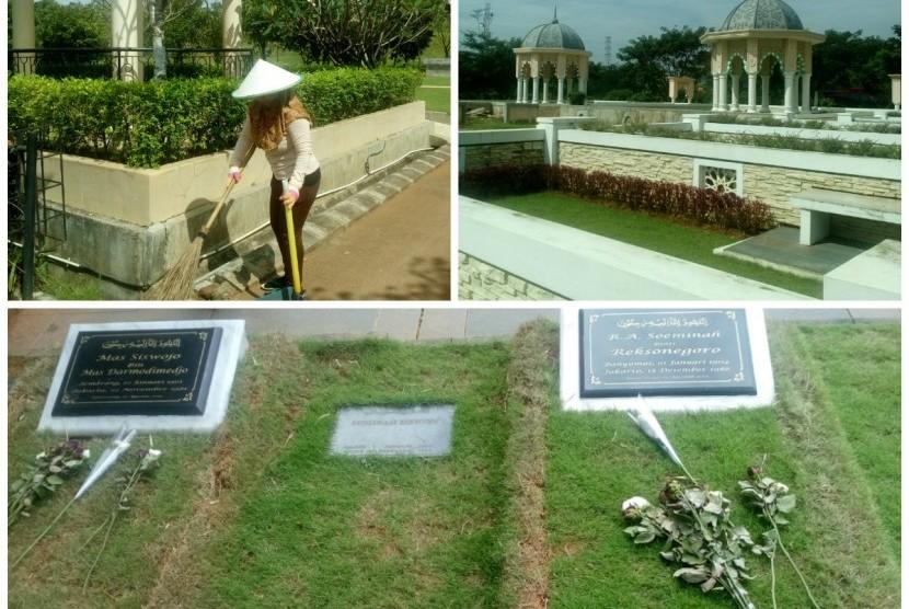 Foto kolase pemakaman Al Azhar Memorial Garden.