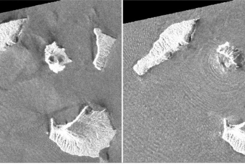 Foto radar satelit Gunung Anak Krakatau saat terjadi erupsi pada 22 Desember 2018 kemarin.