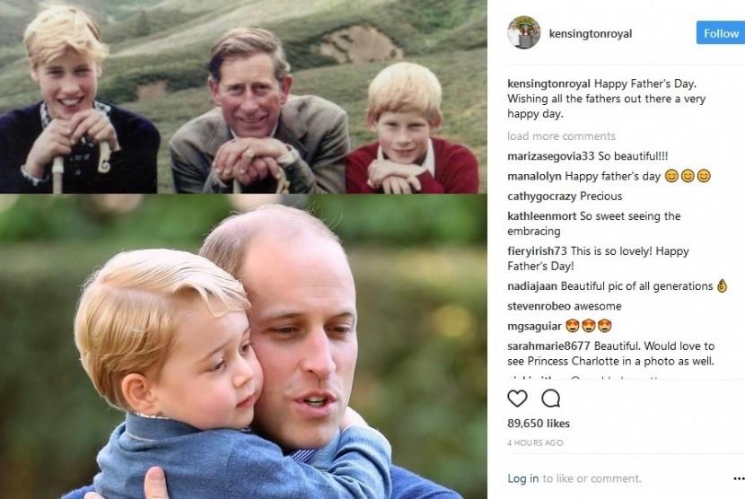 Foto resmi Istana Kensington terkait perayaan hari ayah. Tampak Pangeran Charles dengan kedua putranya di atas, dan di bawah foto Pangeran William dengan putranya Pangeran George.