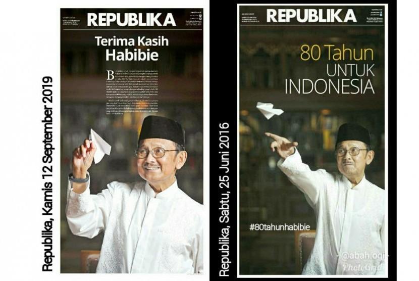 Foto sampul depan Harian Republika edisi wafat dan hari jadi almarhum BJ Habibie