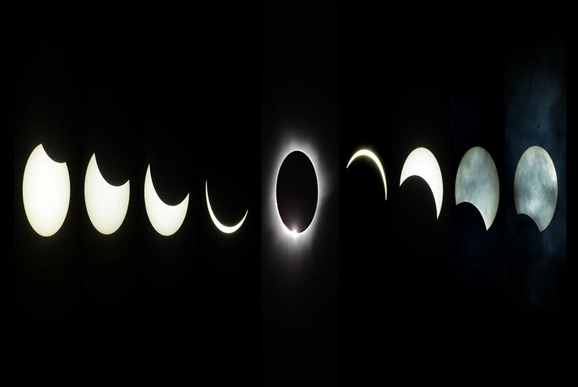 Foto sekuel proses gerhana matahari (GMT) di Desa Kalora, Kecamatan Poso Pesisir Utara, Kabupaten Poso, Sulawesi Tengah, Rabu (9/3).