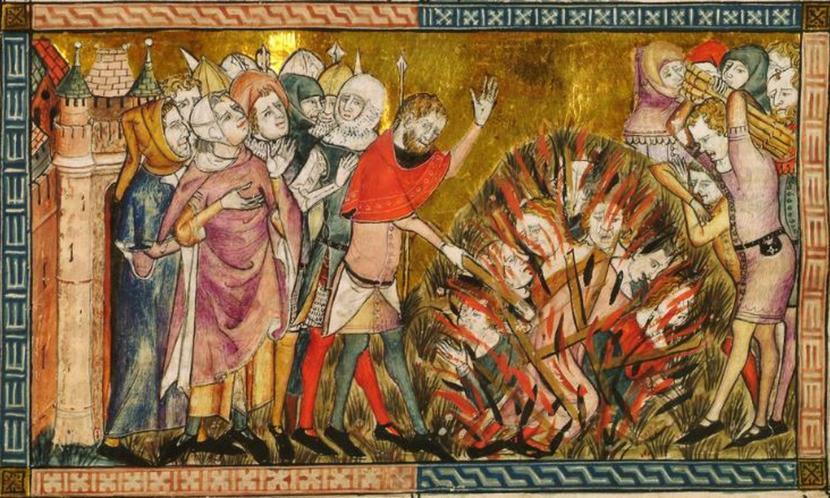 Gambaran budaya anti Yahudi (anti Semit) di Eropa). Tampak gambaran betapa kaum Yahudi harus dibakar dalam api menyala-nyala.