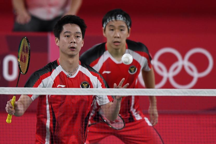 Ganda putra Indonesia Kevin Sanjaya Sukamuljo (kiri) dan Marcus Fernaldi Gideon akan tampil di perempat final ganda putra Olimpiade Tokyo.