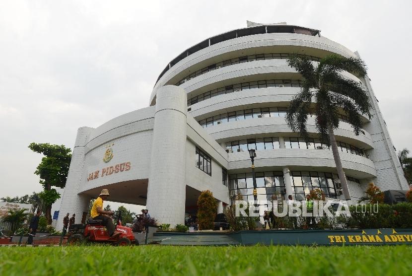 Kejagung Periksa Kadiv BEI Sebagai Saksi Kasus Asabri. Foto:   Gedung Bundar Jam Pidsus yang terletak di Kompleks Kejaksaan Agung, Jakarta, Kamis (17/3).