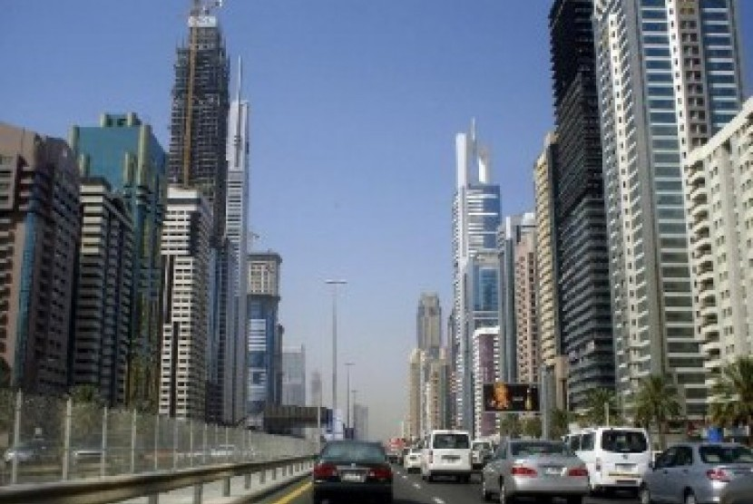 Gedung-gedung bertingkat di jantung kota Dubai, ilustrasi