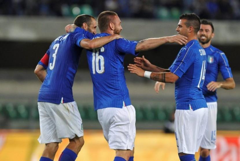Timnas Italia merayakan gol ke gawang Finlandia (ilustrasi).