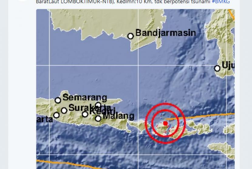 Gempa berkekekuatan 6,4 SR mengguncang Lombok Timur
