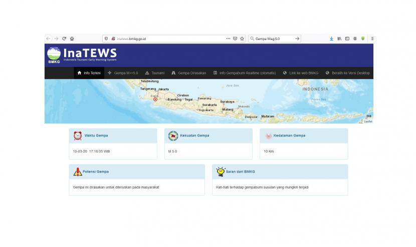 Gempa berkekuatan M 5.0 terjadi di sekitar Pelabuhan Ratu, Banten.(Tangkapan Layar BMKG)