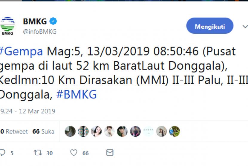 Gempa di selat makassar atau 50 km arah utara kota donggala