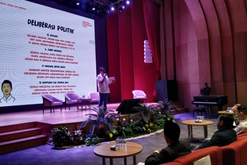 Generasi milenial menggelar acara pidato kebangkitan di gedung Perpustakaan Nasional, Jakarta. Tema acara mengangkat Milenial Melangkah Maju. Peserta merupakan undangan lima puluh  organisasi dari berbagai latar belakang
