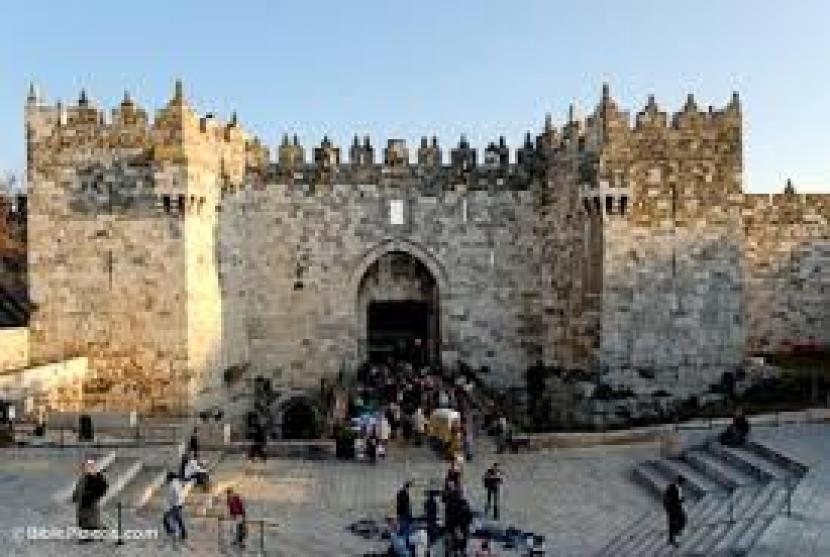 Gerbang kota di kawasan kota tua Jerusalem