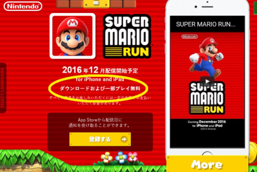 Gim Super Mario di telepon pintar