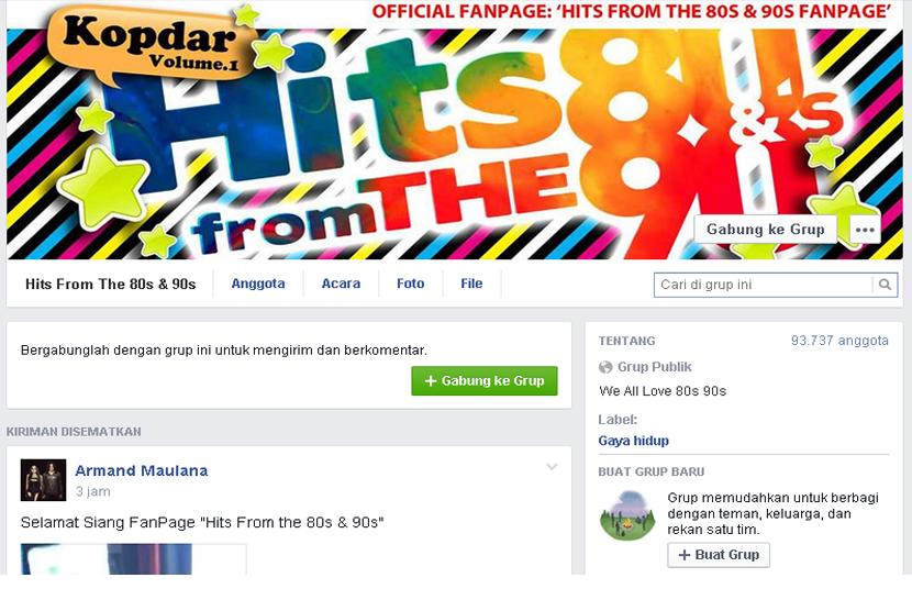 Grup Facebook 'Hiits From The 80s & 90s' dibuat untuk mengobati kerinduan pada musik, film, hingga cerita-cerita khas zaman itu.