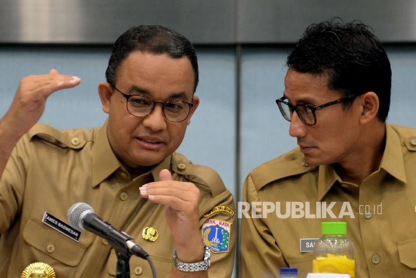 Gubernur DKI Jakarta Anies Baswedan dan Wakil Gubernur Sandiaga Uno