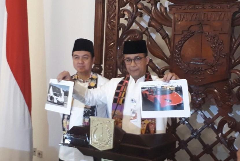 Gubernur DKI Jakarta Anies Baswedan mengumumkan ratusan mobil mewah di ibu kota yang menunggak pajak tahun 2017, Jumat (12/1).