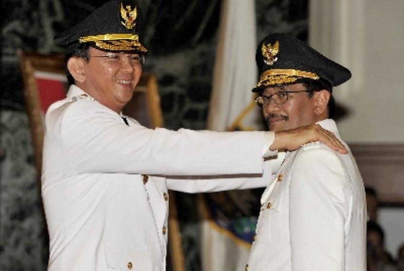 Gubernur DKI Jakarta Basuki Tjahaja Purnama bersama Wakil Gubernur DKI Jakarta Djarot Saiful Hidayat.