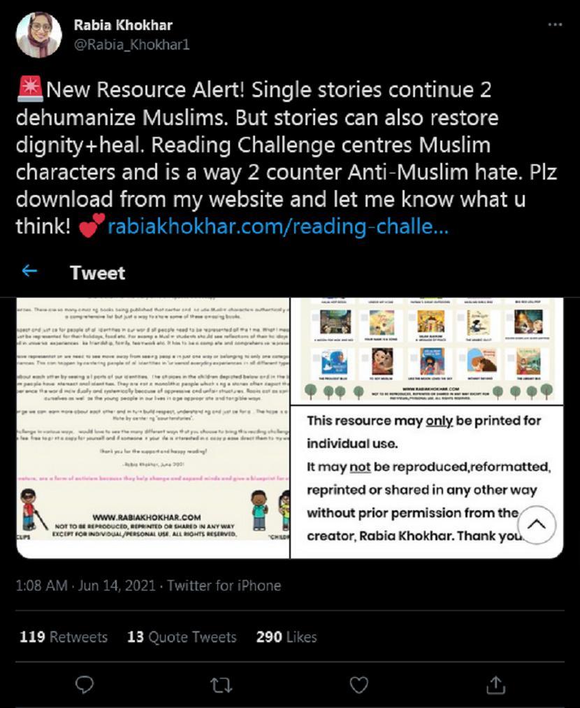 Guru muslim Kanada membuat daftar bacaan untuk keluarga yang ingin memerangi Islamofobia.