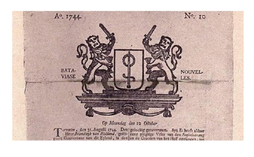 Halaman pertama Bataviase Nouvelles edisi 12 Oktober 1744.