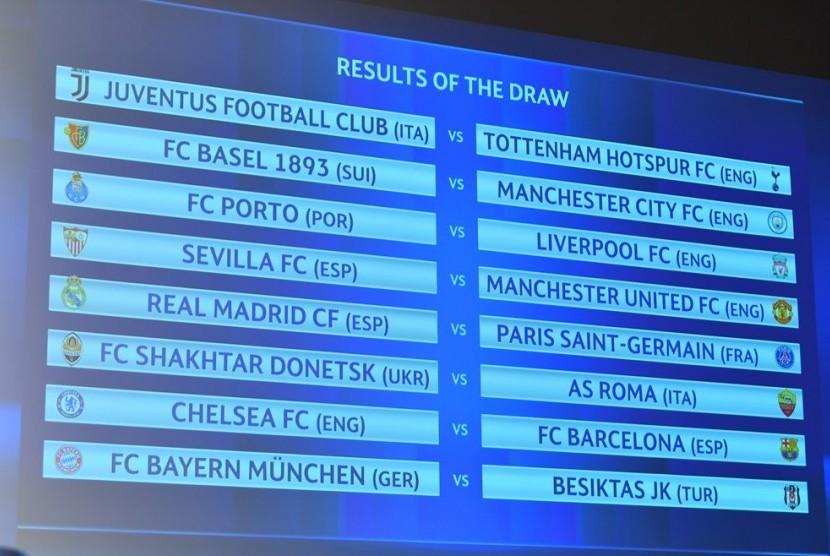 Hasil undian babak 16 besar Liga Champions.