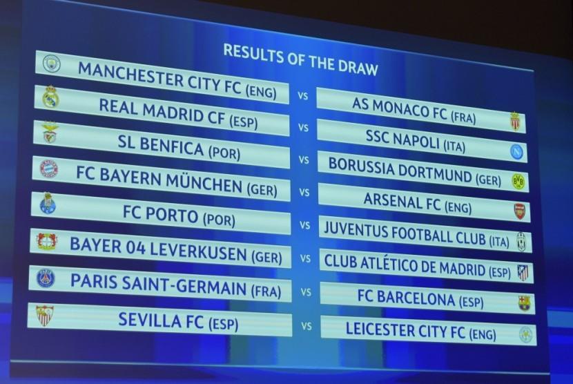 Hasil undian babak 16 besar Liga Champions Eropa.