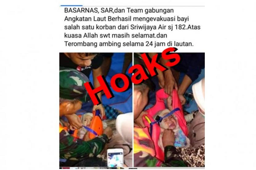 Hoaks, Foto Bayi Selamat dari Kecelakaan Sriwijaya Air | Republika Online