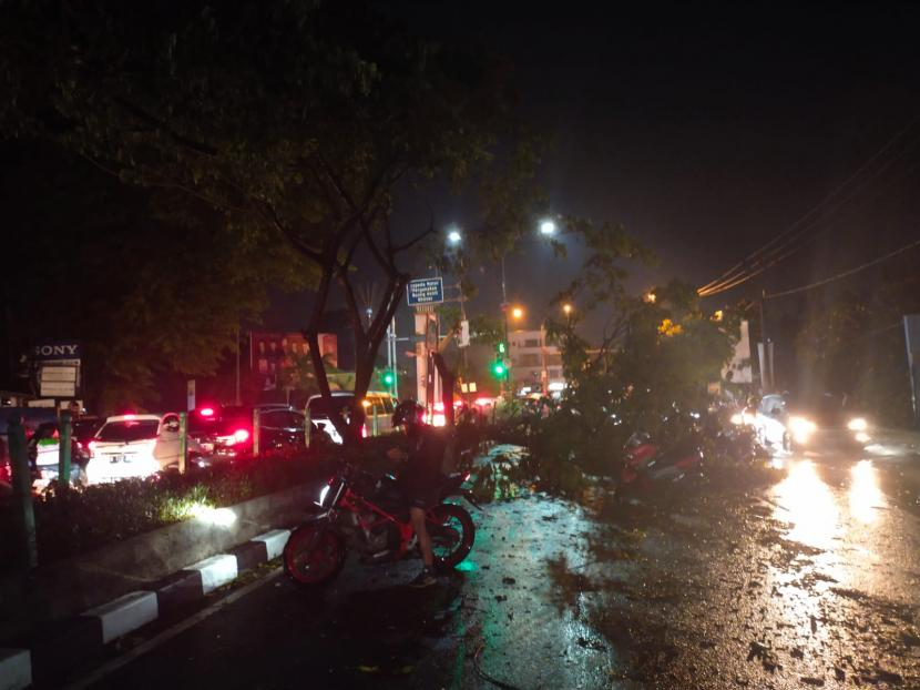 Hujan deras disertai angin kencang  selama satu jam mengakibatkan ratusan pohon pelidung jalan tumbang di Kota Depok, Selasa (21/9), sekira pukul 16.30 WIB-17.30 WIB. Pohon-pohon yang tumbang yang melintang ditengah jalan juga menimbulkan kemacetan total disejumlah titik jalan.