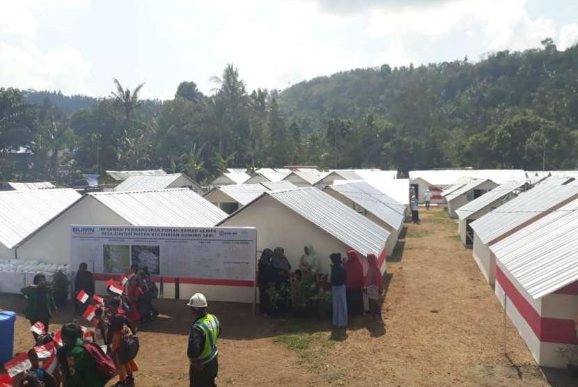 Hunian sementara (huntara) rumah ramah gempa (RRG) untuk korban gempa NTB (ilustrasi)