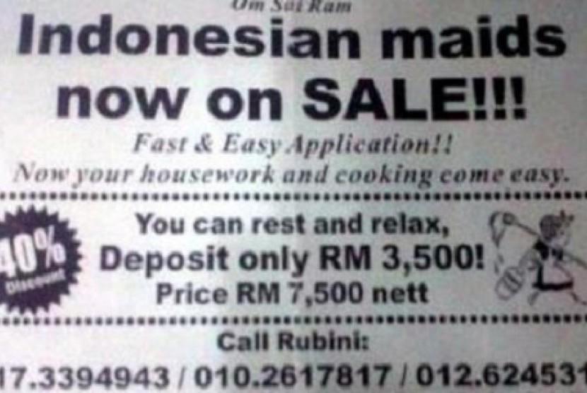 Iklan 'TKI on Sale' di Malaysia.