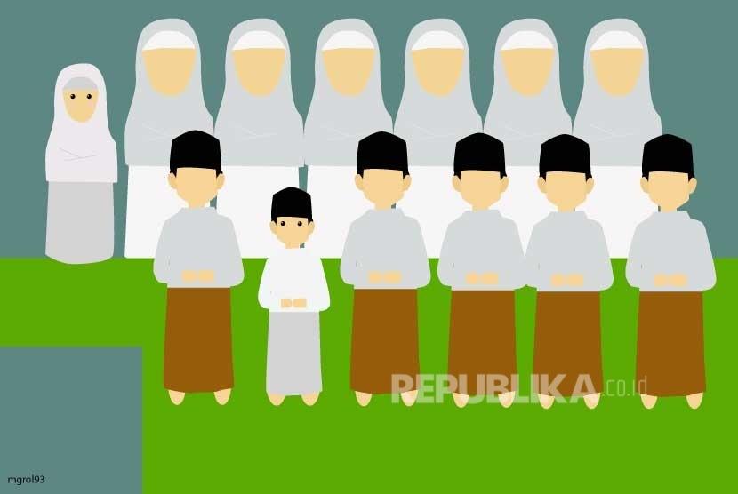 Panduan Sholat Idul Fitri dari Satgas Covid-19. Foto: Ilustrasi Anak Shalat Idul Fitri