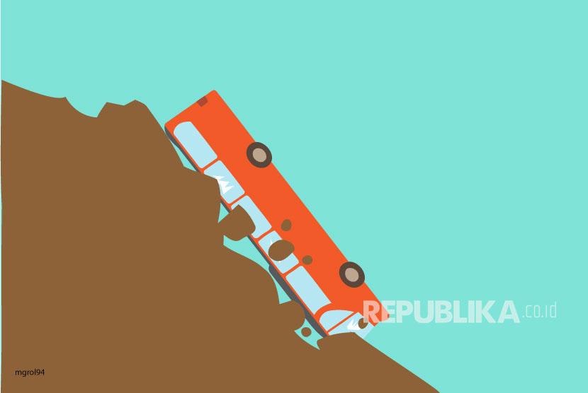 Ilustrasi Bus Masuk Jurang
