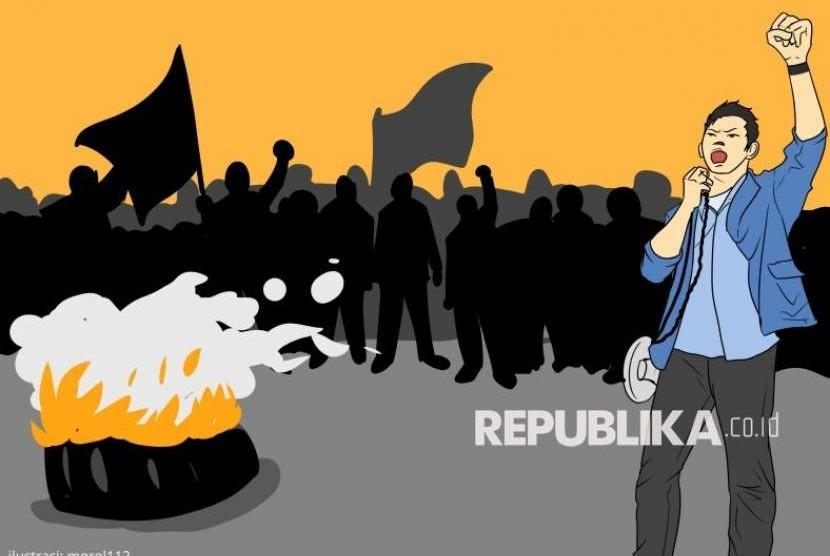 Ilustrasi mahasiswa ketika melakukan aktivitas unjuk rasa.