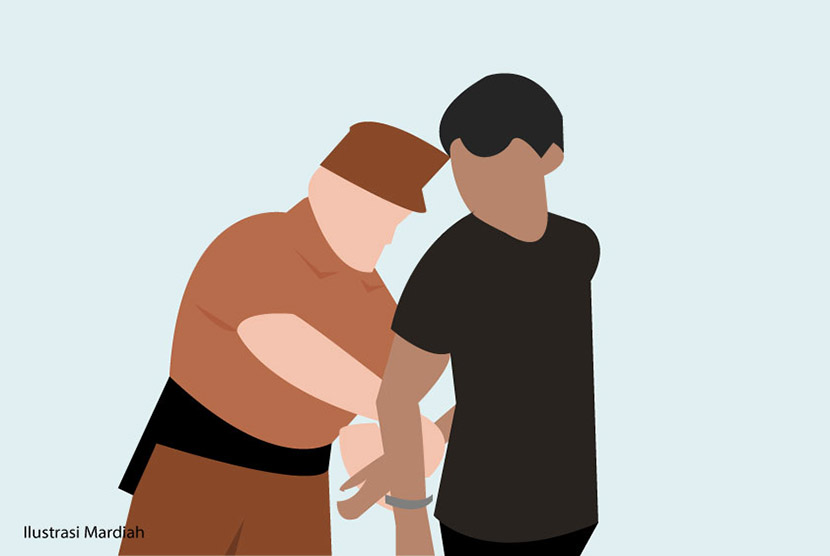 Rapist arrested by the police. (Illustration)